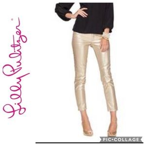 NWT Lilly Pulitzer Worth Skinny Jeans Rose Gold 10